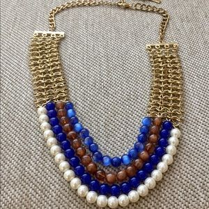 NWOT Blue, White Bead Necklace with Gold Chain